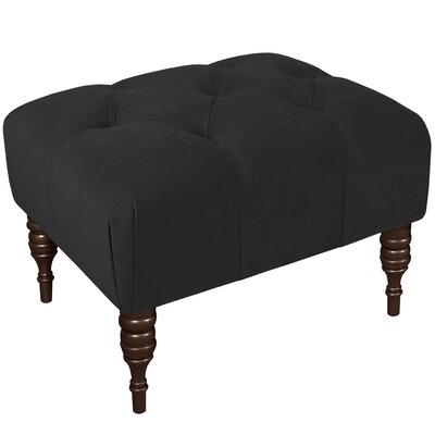 Fairmount Velvet Tufted Ottoman Color: Black