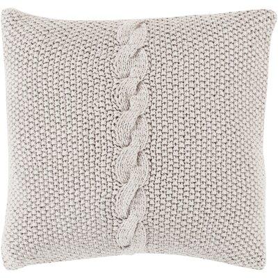 Gascoyne Twist Cotton Throw Pillow Size: 22 H x 22 W x 4 D, Color: Light Gray, Filler: Down
