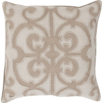 Boston Linen Throw Pillow Size: 22 H x 22 W x 4 D, Color: Taupe/Light Gray, Filler: Polyester