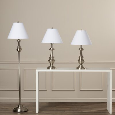 Younis 3 Piece Table and Floor Lamp Set