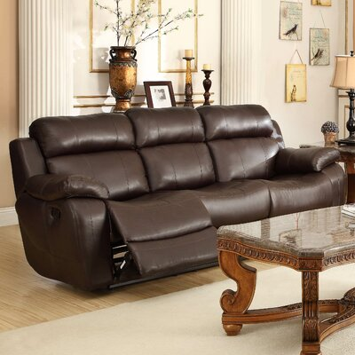 Hall Double Reclining Sofa Upholstery: Brown