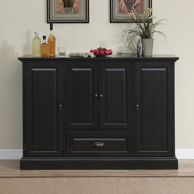 Styward Bar Cabinet with Wine Storage Finish: Antique Black