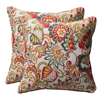 Alsip Outdoor Throw Pillow Color: Red / Green Floral