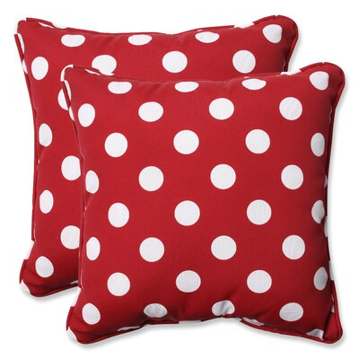 Alsip Outdoor Throw Pillow Color: Red / White Polka Dot