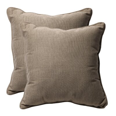 Purlles Outdoor Throw Pillow Color: Taupe Textured Solid