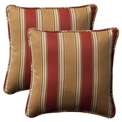 Purlles Outdoor Throw Pillow Color: Red / Gold Striped