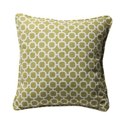 Purlles Outdoor Throw Pillow Color: Green / White Geometric