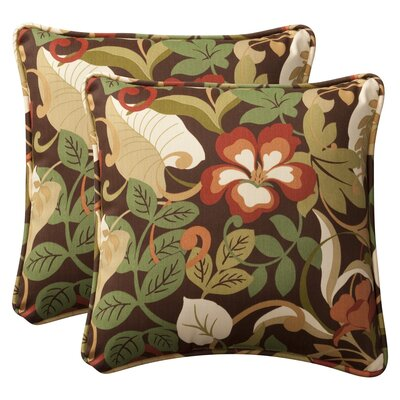 Purlles Outdoor Throw Pillow Color: Brown / Green Tropical