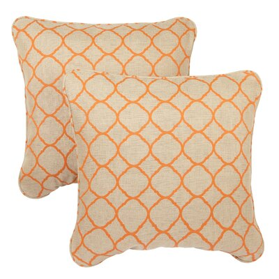 Bateson Outdoor Sunbrella Throw Pillow Size: 22 x 22, Fabric: Beige / Orange