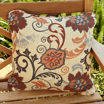 Bataan Outdoor Sunbrella Throw Pillow Size: 18 x 18, Fabric: Beige Floral