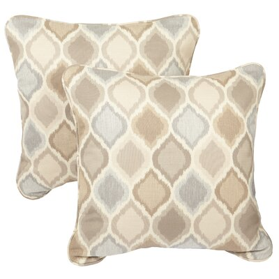 Bateson Outdoor Throw Pillow Size: 22 x 22, Fabric: Beige / Blue