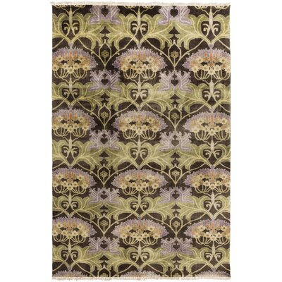 Pritchard Hand-Knotted Brown/Green Area Rug Rug Size: 2 x 3