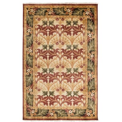 Pritchard Hand Knotted Beige Area Rug Rug Size: Rectangle 5 x 8