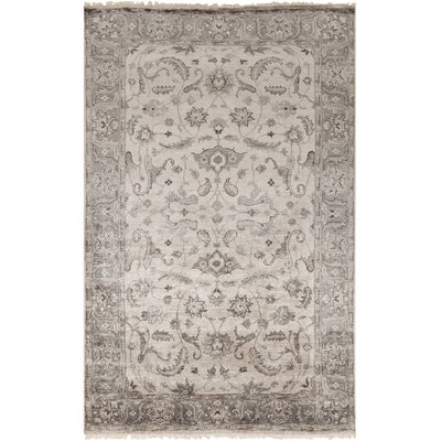 Gullette Hand Knotted Gray Area Rug Rug Size: 9 x 13