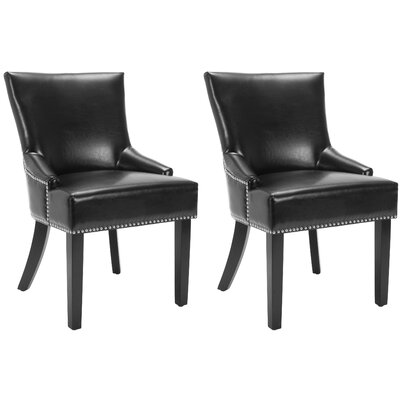 York Genuine Leather Upholstered Dining Chair Upholstery: Black