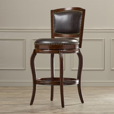 Rockton 29 Swivel Bar Stool with Cushion Upholstery: Brown, Finish: Espresso