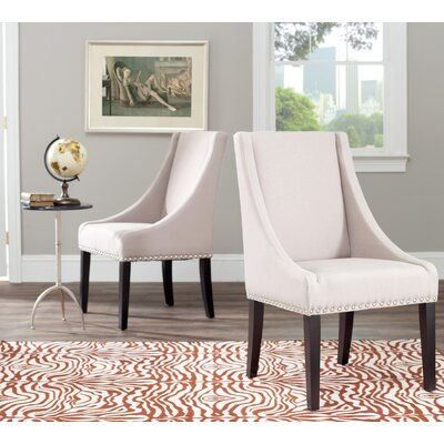 Flossmoor Side Chair in Linen - Taupe with Nailheads