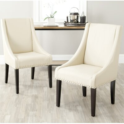 Flossmoor Side Chair (Set of 2) Upholstery: Bicast Leather - Cream with Nailheads