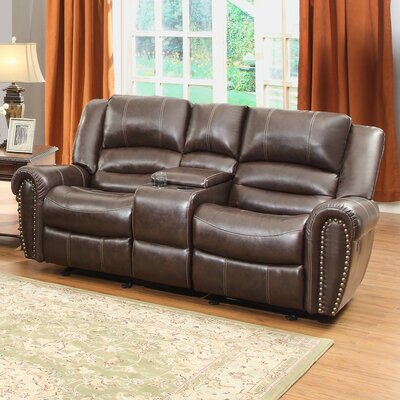 Caffey Power Reclining Sofa Upholstery: Dark Brown