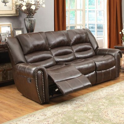 Caffey Power Double Reclining Sofa Upholstery: Dark Brown