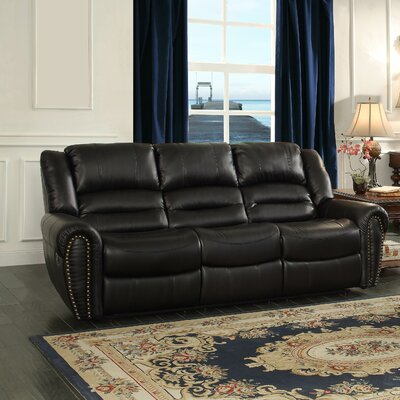 Caffey Power Double Reclining Sofa Upholstery: Black