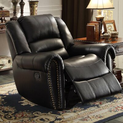 Caffey Power Recliner Upholstery: Black