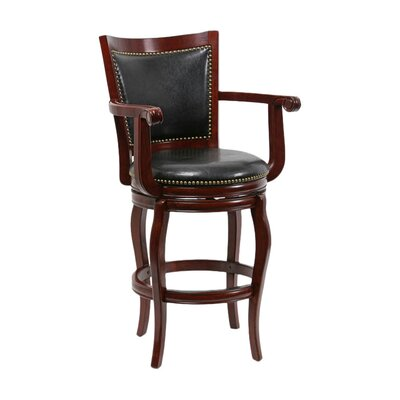 Greer 29 Swivel Bar Stool Upholstery: Cherry