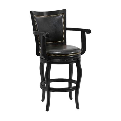 Greer 29 Swivel Bar Stool Upholstery: Black