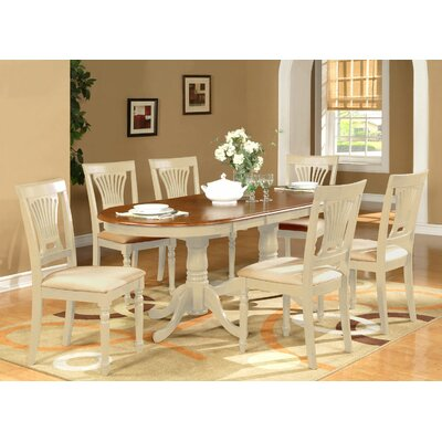 Germantown 7 Piece Dining Set Finish: Buttermilk / Cherry, Chair Upholstery: Microfiber