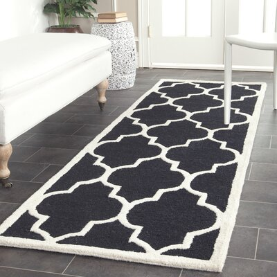 Parker Lane Hand-Tufted Wool Black/Ivory Area Rug Rug Size: Runner 26 x 12