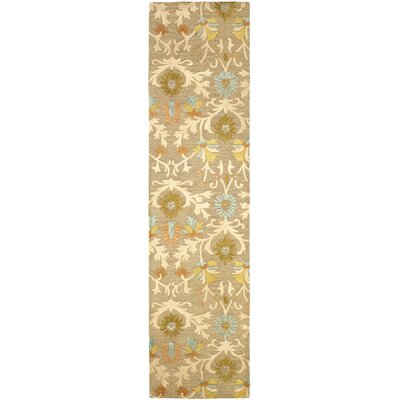 Parker Lane Hand-Tufted Wool Moss/Beige Area Rug Rug Size: Runner 26 x 10