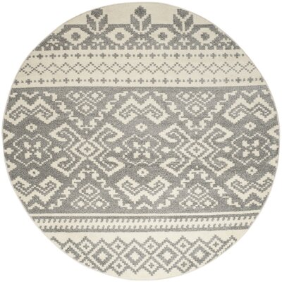 Allensby Ivory & Silver Area Rug Rug Size: Round 10