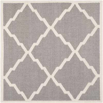 Brambach Hand-Woven Wool Grey/Ivory Area Rug Rug Size: Rectangle 6' x 6'