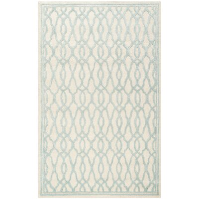 Martha Stewart Hand-Tufted Ivory / Blue Area Rug Rug Size: 5 x 8