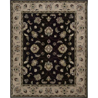 Carthage Hand-Tufted Black Area Rug Rug Size: 5 x 7