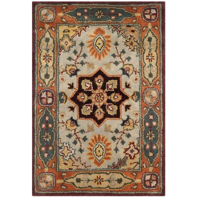 Heine Hand-Tufted Wool Orange/Beige/Green Area Rug Rug Size: Round 8