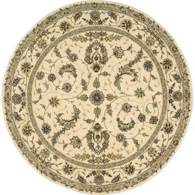 Hemming Hand-Tufted Ivory Area Rug Rug Size: Round 5'9