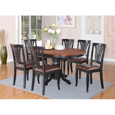 Attamore 5 Piece Dining Set Finish: Black and Cherry, Upholstery: Faux Leather