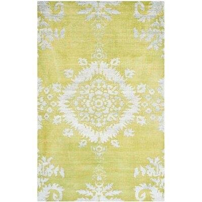 Griggs Hand-Knotted Chartreuse Area Rug Rug Size: 5 x 8