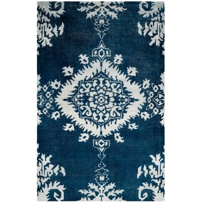 Griggs Hand-Knotted Indigo Area Rug Rug Size: 4 x 6