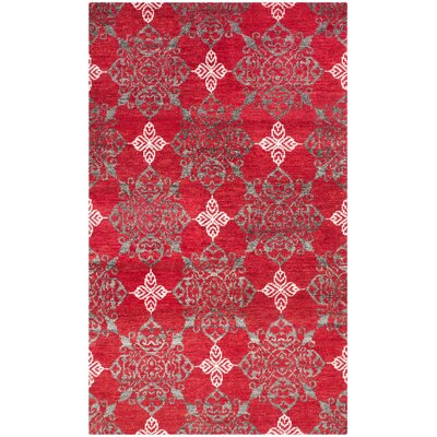 Griggs Hand-Knotted Red / Ivory Area Rug Rug Size: 5 x 8