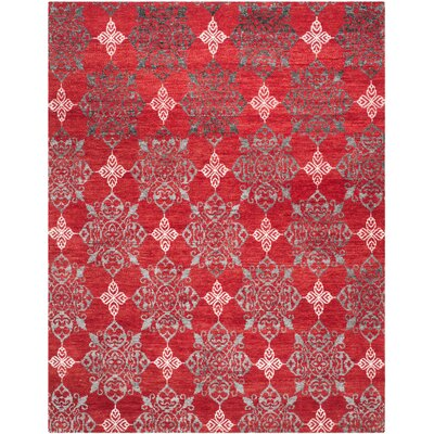Griggs Hand-Knotted Red / Ivory Area Rug Rug Size: 4 x 6
