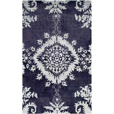 Griggs Hand-Knotted Deep Purple Area Rug Rug Size: 4 x 6