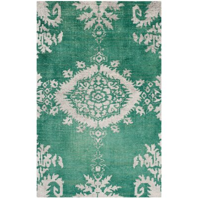 Collette Griggs Hand-Knotted Emerald Area Rug Rug Size: 5 x 8