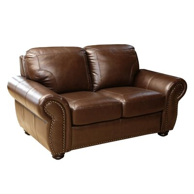 Darby Home Co DBHC4914 27052306 Scarsdale Top Grain Leather Loveseat