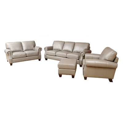 Carthage Leather 4 Piece Living Room Set