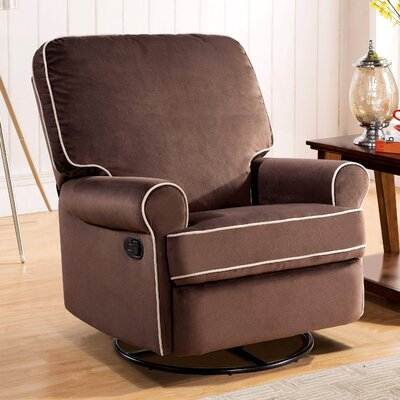Roquemore Fabric Swivel Glider Recliner Upholstery: Coffee