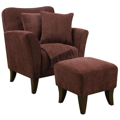 Quaker Sqaure Arm Chair and Ottoman Upholstery: Burgundy