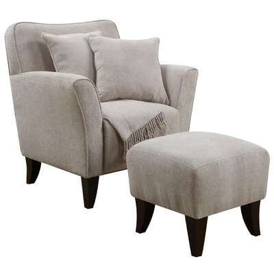 Quaker Sqaure Arm Chair and Ottoman Upholstery: Taupe