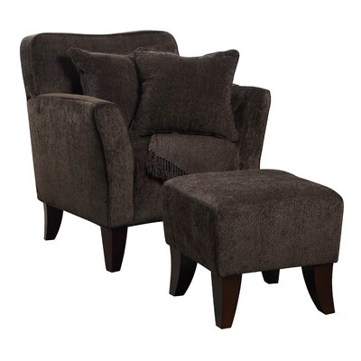 Quaker Sqaure Arm Chair and Ottoman Upholstery: Chocolate Brown